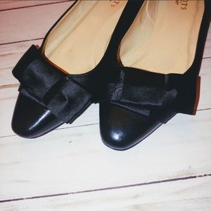 Talbots satin ballerina bow flats leather toe sz 7